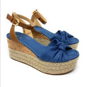 MICHAEL KORS MAXWELL MID WEDGE WASHED DENIM size 8